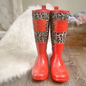 COACH | Red Leopard Print Rubber Tall Rain Boots
